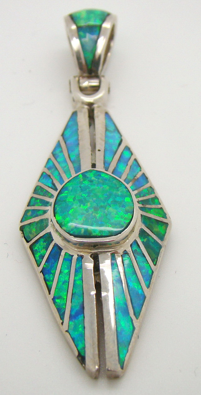 Sterling Silver and Lab Opal Inlayed Pendant JA-226