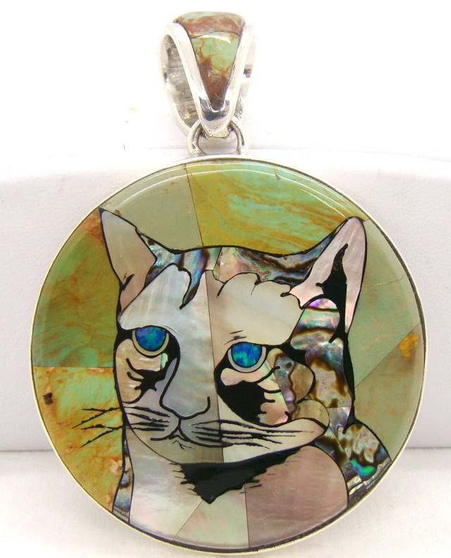 Sterling Silver Cat Inlayed Pendant JA-281