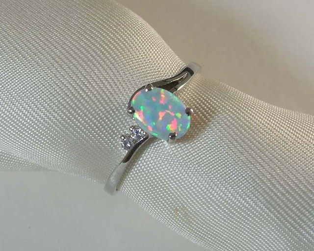 IMITATION CRYSTAL OPAL 925 SILVER RING #SR/65