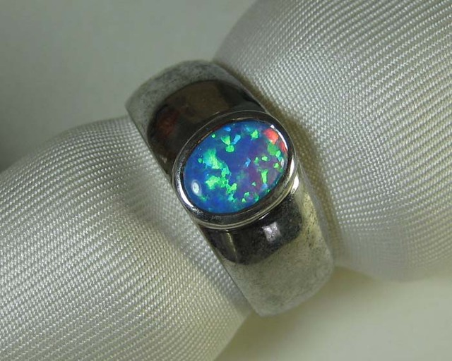 925 SILVER RING SYNTHETIC CRYSTAL OPAL size 10  #LSSR1/7