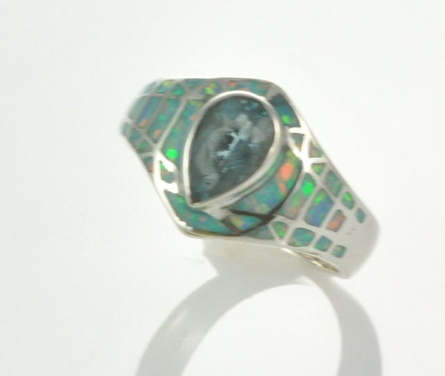 Sterling Silver Lab Opal Inlay Ring With Blue Topaz (JA-81)