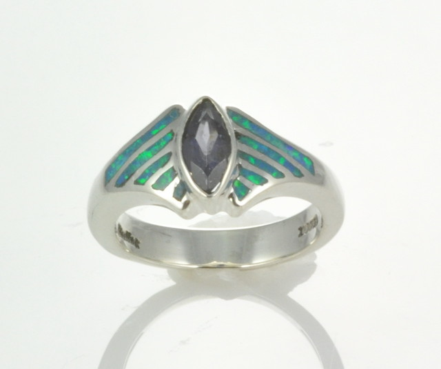 Sterling Silver Lab Opal Inlay Ring with iolite (JA-83)