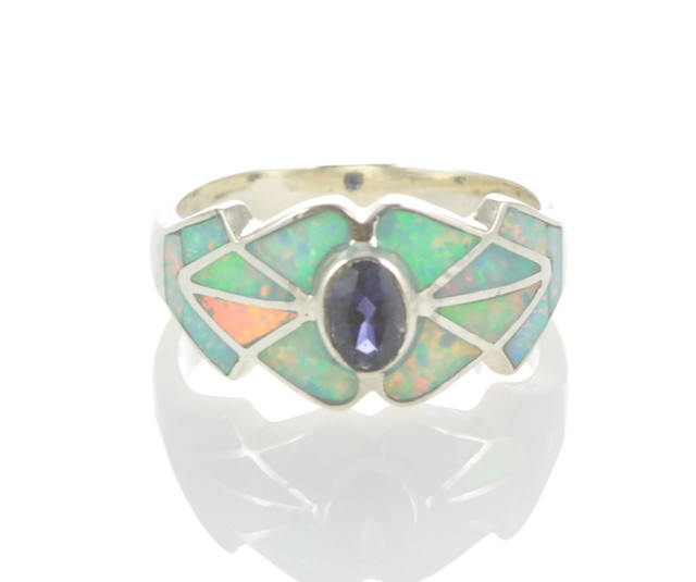 Sterling Silver Lab Opal Inlay Ring With iolite (JA-86)