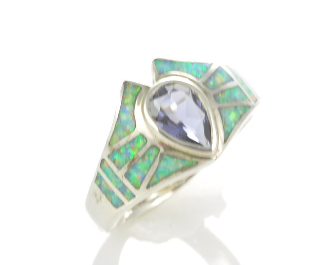 Sterling Silver Lab Opal Inlay Ring with iolite (JA-87)