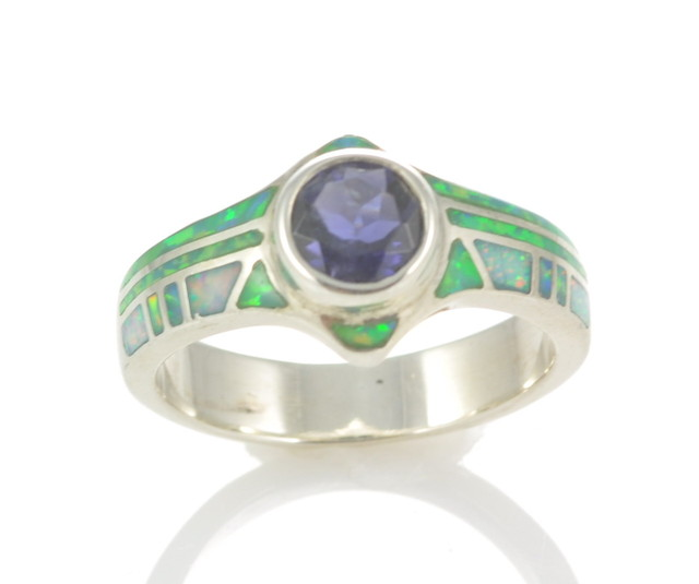 Sterling Silver Lab Opal Inlay Ring with iolite (JA-88)