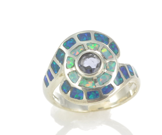 Sterling Silver Lab Opal Inlay Ring With iolite (JA-89)