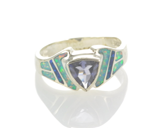 Sterling Silver Lab Opal Inlay Ring With iolite (JA-90)