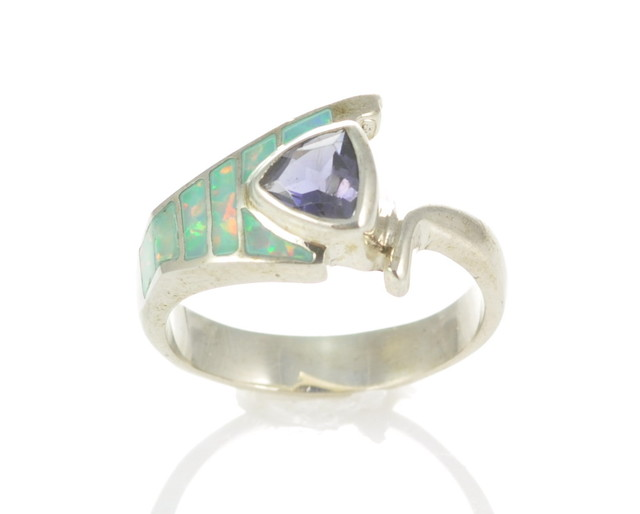 Sterling Silver Lab Opal Inlay Ring With Amethyst (JA-77)