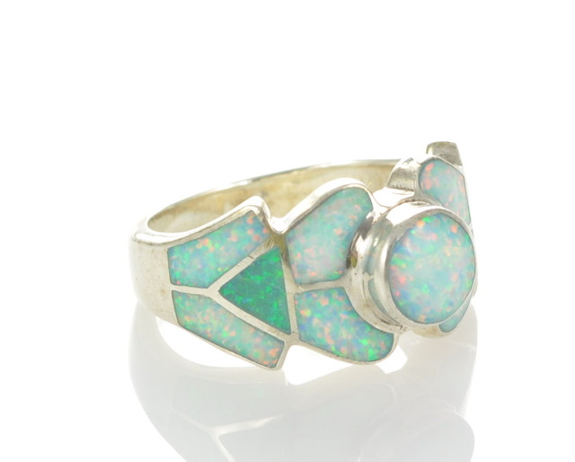 Sterling Silver Lab Opal Inlay Ring (JA-76)