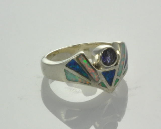 Sterling Silver Lab Opal Inlay Ring with Amethyst (JA-75)