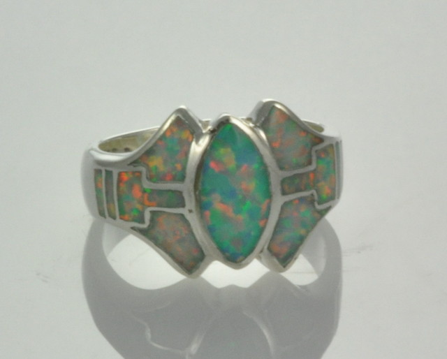 Sterling Silver Lab Opal Inlay Ring (JA-74)