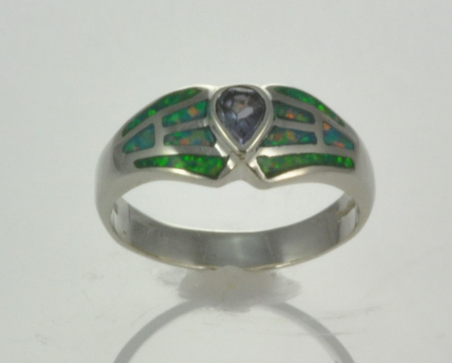 Sterling Silver Lab Opal Inlay Ring with Amethyst (JA-73)