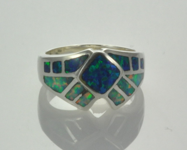 Sterling Silver Lab Opal Inlay Ring (JA-72)