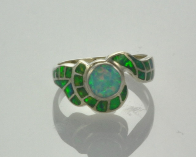 Sterling Silver Lab Opal Inlay Ring (JA-71)