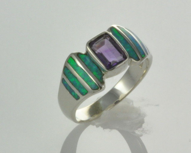 Sterling Silver Lab Opal Inlay With Amethyst Ring (JA-115)