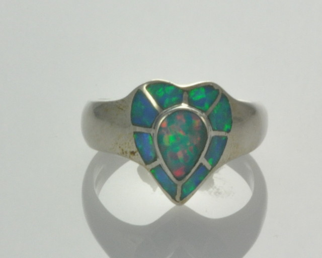 Sterling Silver Lab Opal Inlay Ring (JA-116)