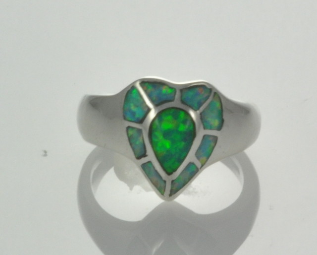 Sterling Silver Lab Opal Inlay Ring (JA-117)