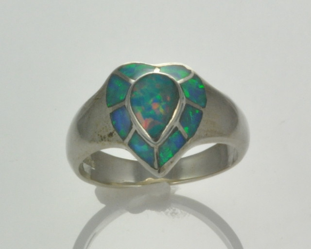 Sterling Silver Lab Opal Inlay Ring (JA-118)