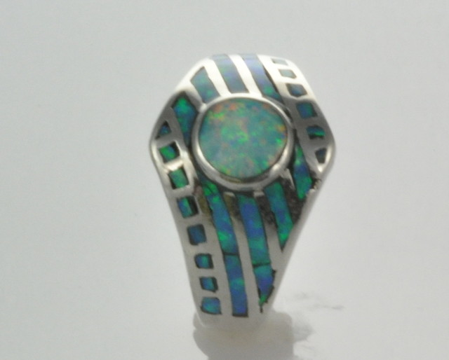 Sterling Silver Lab Opal Inlay Ring (JA-120)