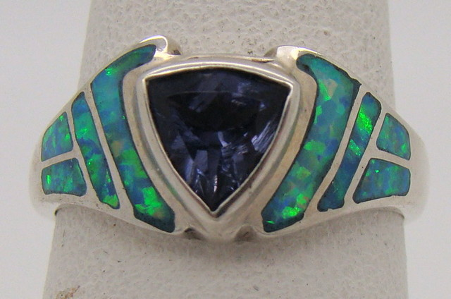Sterling Silver Lab Opal Ring Size 7 1/2 (JA-211)