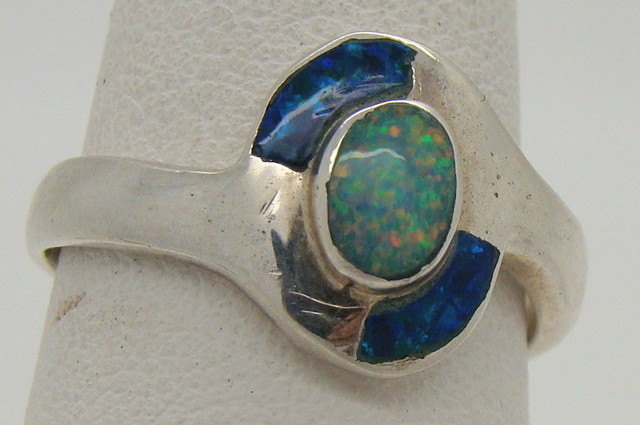 Sterling Silver Lab Opal Ring Size 5 1/4 (JA-213)