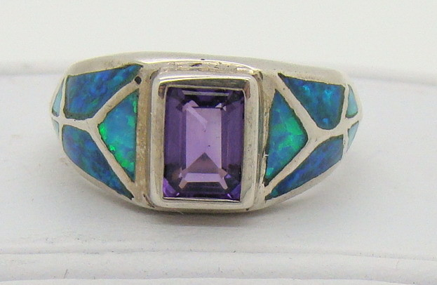 Sterling Silver Lab Opal Ring Size 5 1/4 (JA-214)
