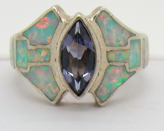 Sterling Silver Lab Opal Ring Size 6 (JA215)