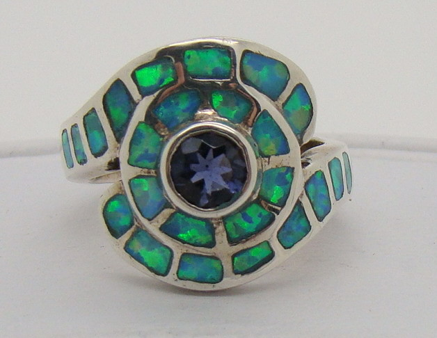 Sterling Silver Lab Opal Ring Size 4 1/4 (JA-216)