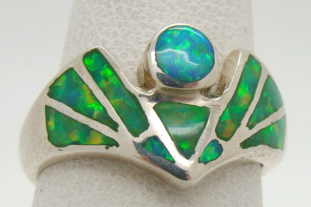 Sterling Silver Lab Opal Ring Size 5 1/4 (JA-217)