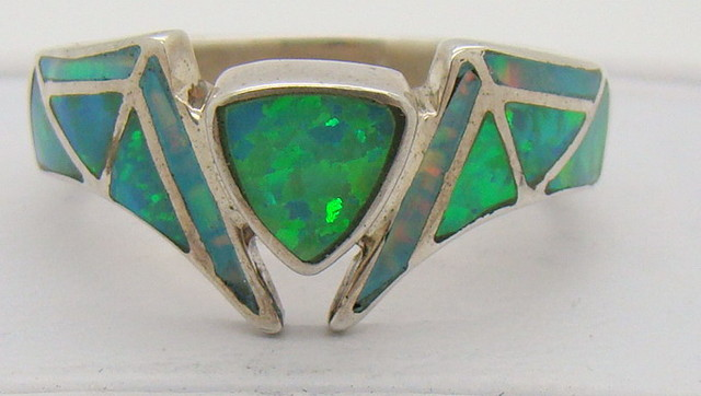 Sterling Silver Lab Opal Ring Size 7  3/4