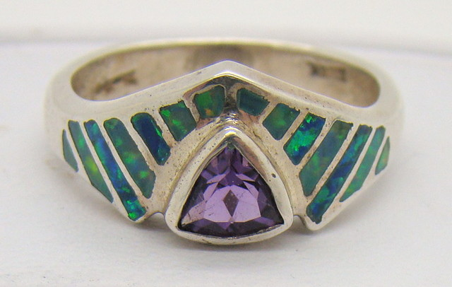 Sterling Silver Lab Opal Ring Size 6 (JA-220)
