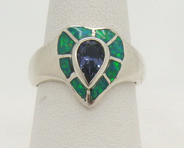 Sterling Silver Lab Opal Ring Size 7 3/4 (JA-288)