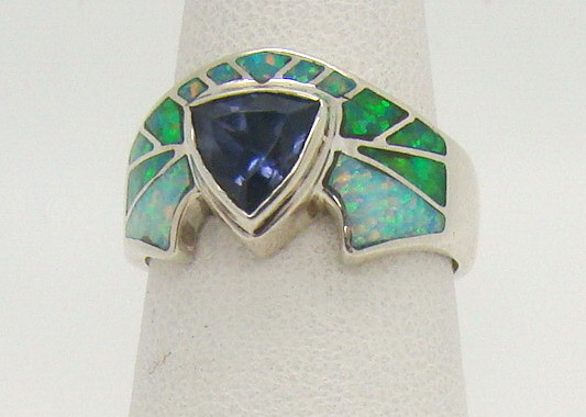Sterling Silver Lab Opal Ring Size 6 3/4 (JA-289)