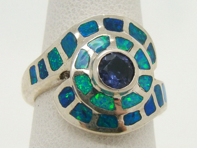 Sterling Silver Lab Opal Ring Size 6 1/4 (JA-290)