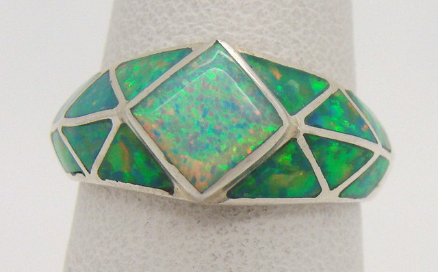 Sterling Silver Lab Opal Ring Size 6 1/4 (JA-291)