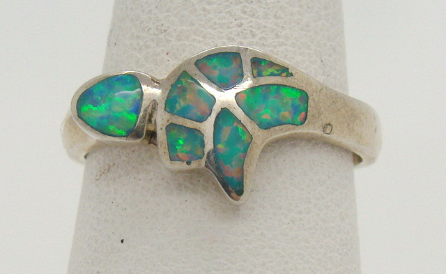 Sterling Silver Lab Opal Ring Size Size 8 1/4 (JA-292)