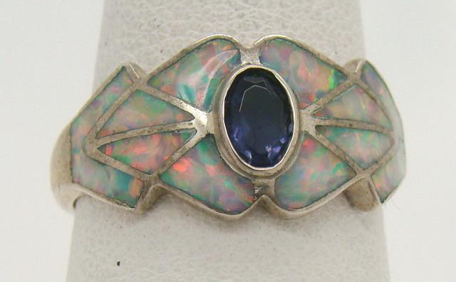 Sterling Silver Lab Opal Ring Size 8 3/4 (JA-293)