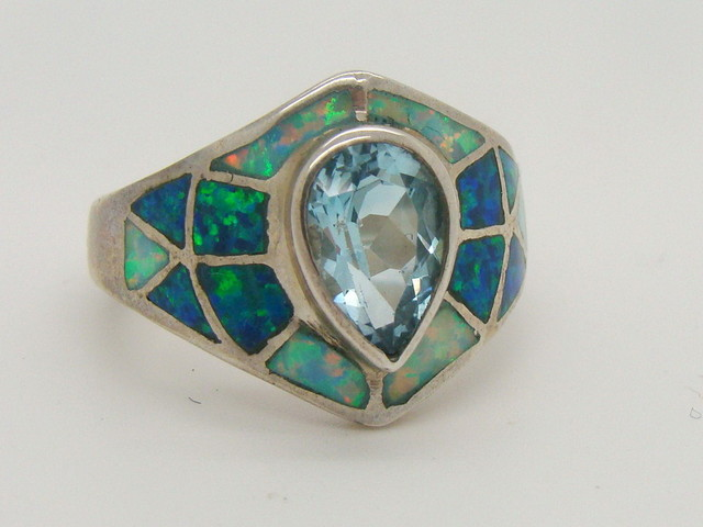Sterling Silver Lab Opal Ring Size 6 (JA-294)