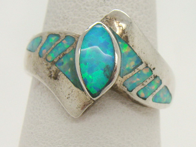 Sterling Silver Lab Opal Ring Size 8 3/4 (JA-295)