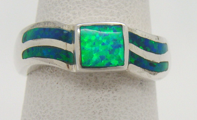 Sterling Silver Lab Opal Ring Size 6 (JA-296)