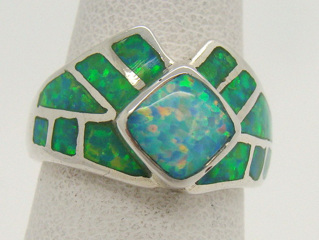 Sterling Silver Lab Opal Ring Size 5 1/2 (JA-298)