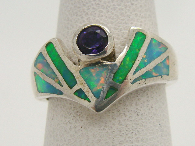 Sterling Silver Lab Opal Ring Size 5 (JA-299)