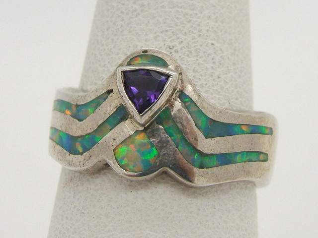 Sterling Silver Lab Opal Ring Size 8 (JA -300)