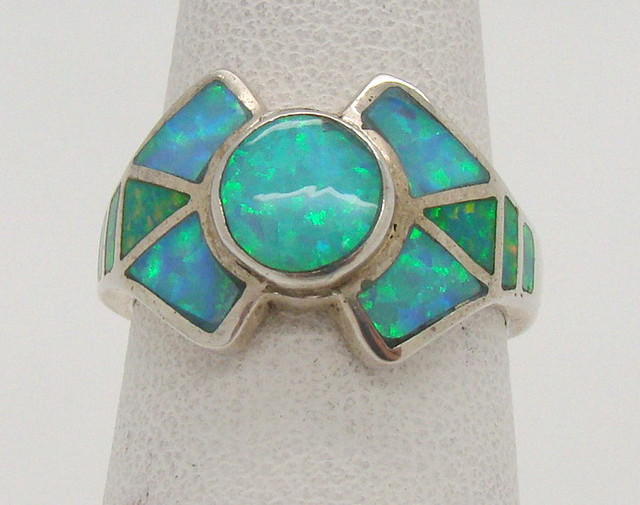 Sterling Silver Lab Opal Ring Size 6 (JA-301)