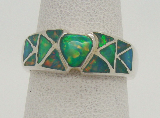 Sterling Silver Lab Opal Ring Size 5 1/4 (JA-302)