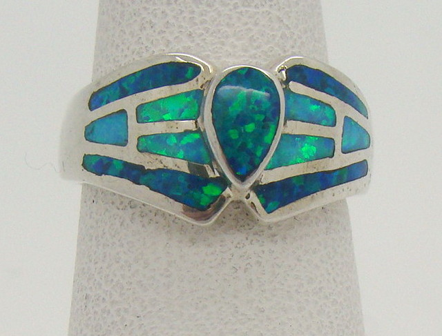 Sterling Silver Lab Opal Ring Size 6 (JA-303)