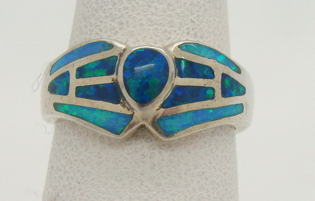 Sterling Silver Lab Opal Ring Size 6 1/2 (JA-304)