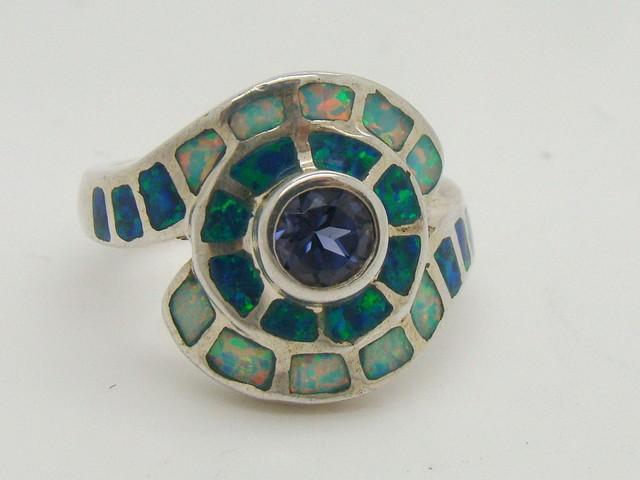 Sterling Silver Lab Opal Ring Size 5 (JA-306)