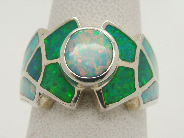 Sterling Silver Lab Opal Ring Size 7 (JA-307)