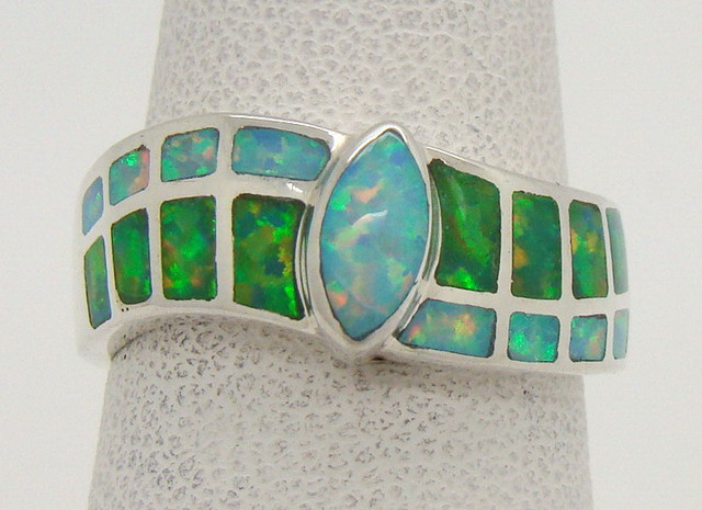 Sterling Silver Lab Opal Ring Size 6 (JA-308)
